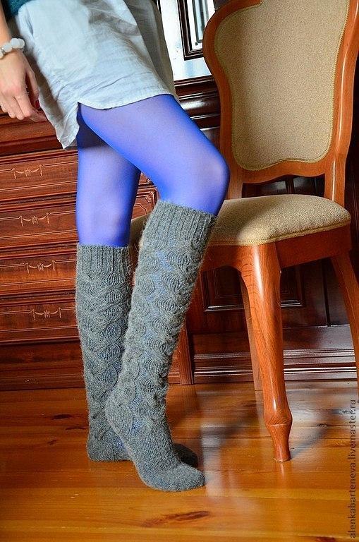 Носки, Чулки ручной работы. Ярмарка Мастеров - ручная работа. Купить Гольфы вязаные. Handmade. Серый, вязаные носки