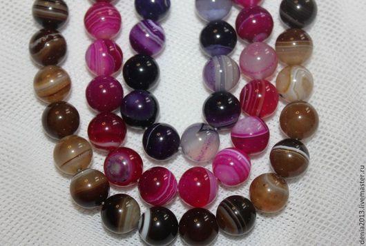 Для украшений ручной работы. Ярмарка Мастеров - ручная работа. Купить Агат бусины шарики 10мм, 3 цвета (розовый, фиолетовый, коричневый). Handmade.