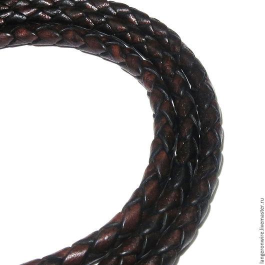 Для украшений ручной работы. Ярмарка Мастеров - ручная работа. Купить Шнур кожаный плетеный 3,5 мм. Цвет - коричневый антик. Handmade.