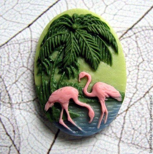 Для украшений ручной работы. Ярмарка Мастеров - ручная работа. Купить Камея Розовый фламинго 18х25мм (пластик) 1шт.. Handmade.