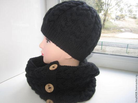 Шапки ручной работы. Ярмарка Мастеров - ручная работа. Купить комплект шапка с косами и шарф-снуд Чёрная полночь. Handmade.