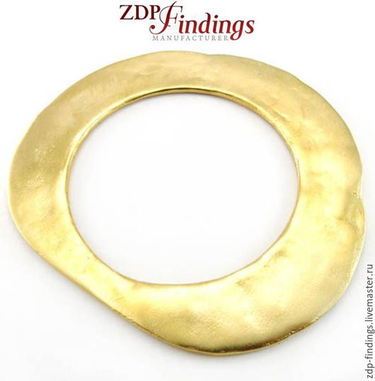 Для украшений ручной работы. Ярмарка Мастеров - ручная работа. Купить Декор позолоч. плоское кольцо с неровной поверхн 95х85мм E000029087001. Handmade.