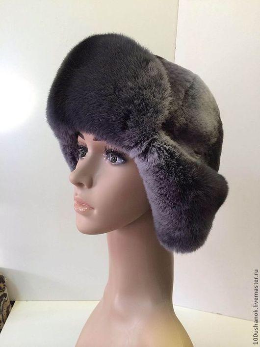 Шляпы ручной работы. Ярмарка Мастеров - ручная работа. Купить Ушанка женская из меха кролика и мутона. Handmade. Темно-серый