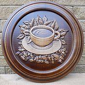 Картины и панно ручной работы. Ярмарка Мастеров - ручная работа Панно резное деревянное Чашка кофе. Handmade.