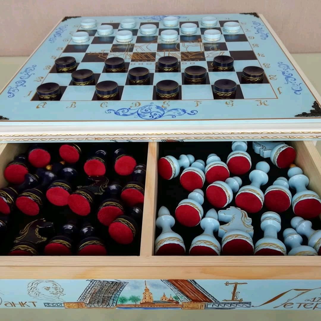 Chess casket of wood 'Saint Petersburg', hand painted, , Shilovo,  Фото №1