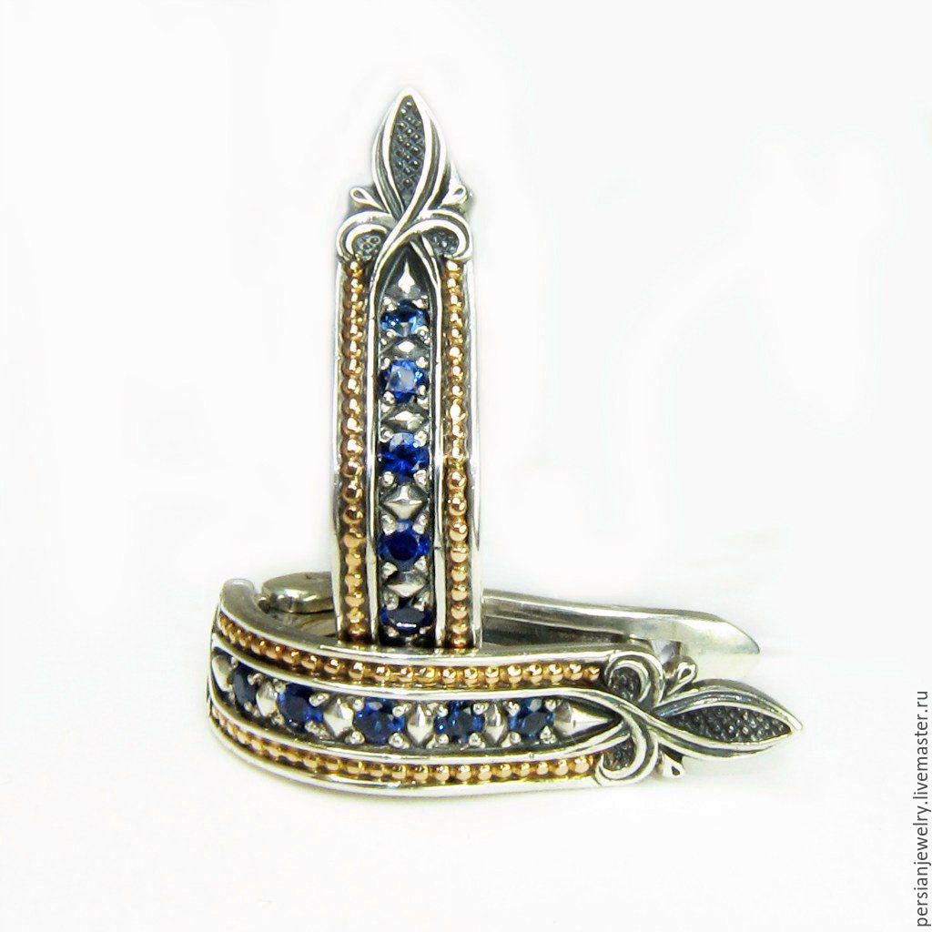 Earrings silver Track with London Topaz, Earrings, Sevastopol,  Фото №1