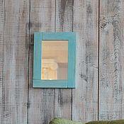 Для дома и интерьера ручной работы. Ярмарка Мастеров - ручная работа Голубое зеркало в деревянной раме. Handmade.