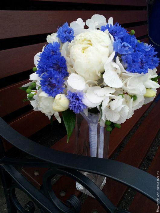 Букеты ручной работы. Ярмарка Мастеров - ручная работа. Купить Букет невесты с гортензией и васильками.. Handmade. Тёмно-синий