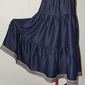 Одежда ручной работы. Ярмарка Мастеров - ручная работа Юбка синева с тесьмой. Handmade.