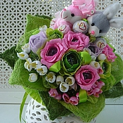 Цветы и флористика ручной работы. Ярмарка Мастеров - ручная работа Букет из конфет с игрушками Сладкая парочка. Handmade.