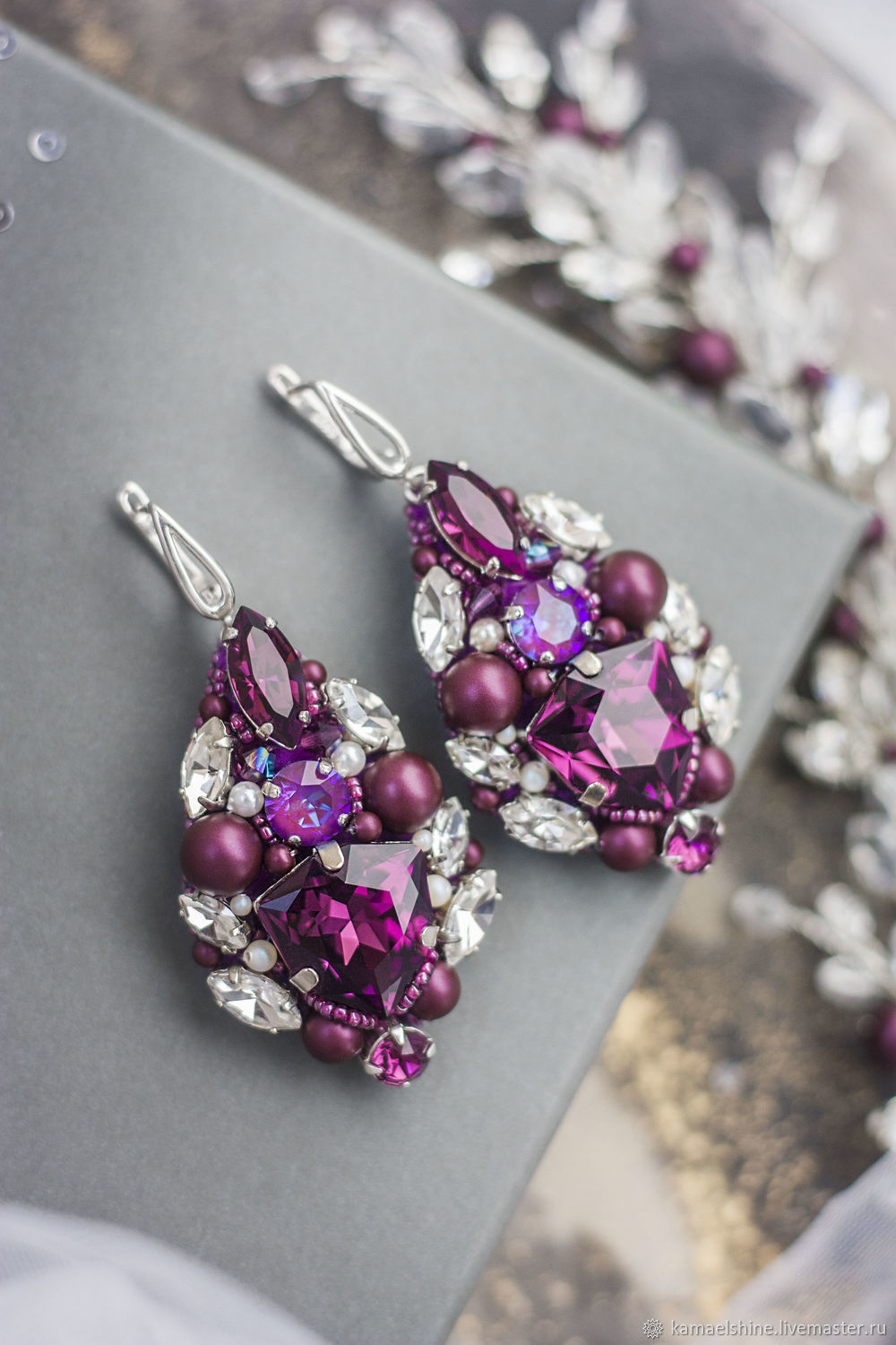 Purple Wedding Earrings With Swarovski