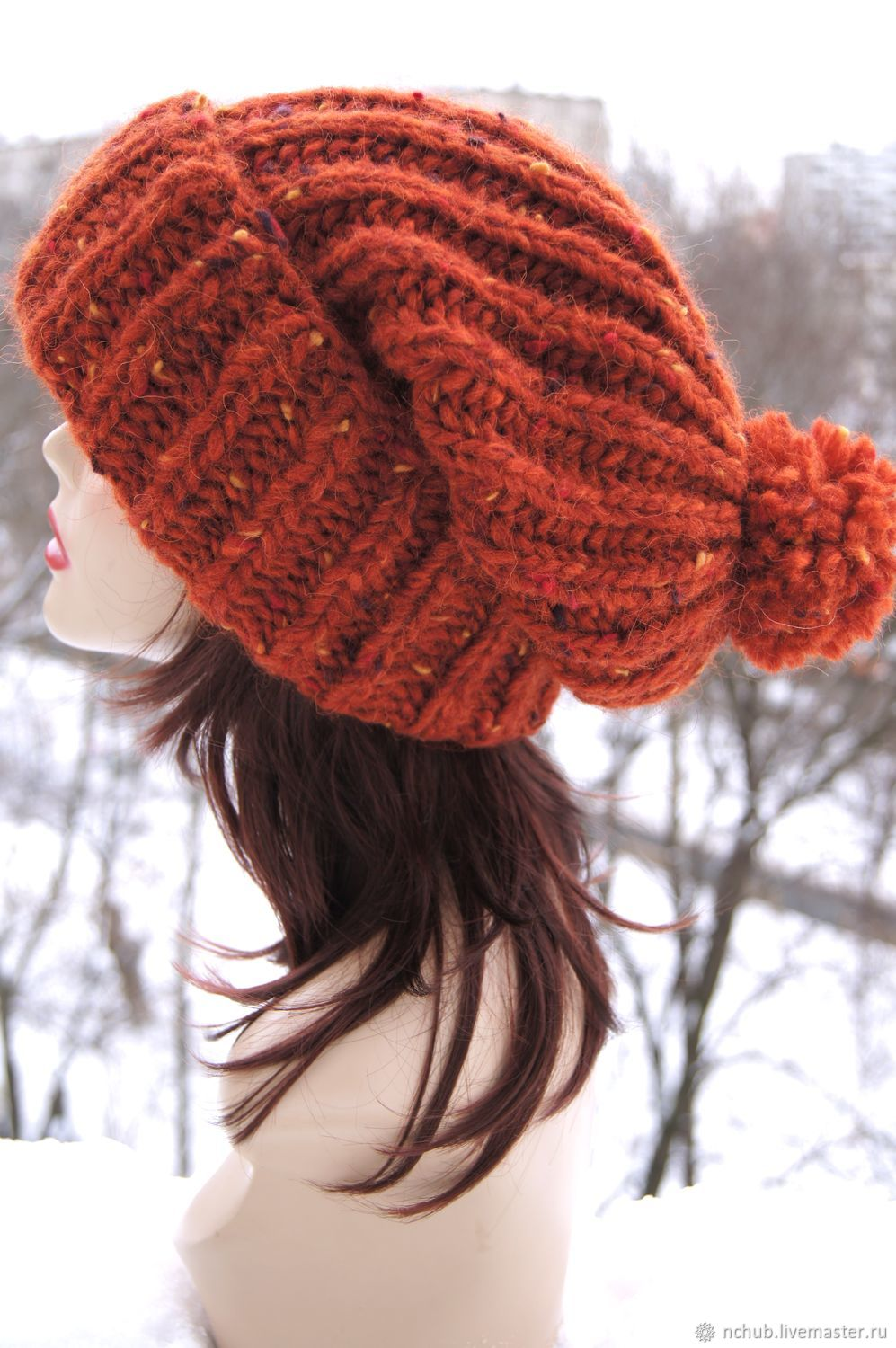 Orange knitted Hat made of 100% Icelandic wool, Caps, Moscow,  Фото №1