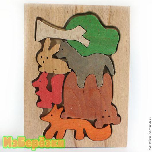 Сказочные персонажи ручной работы. Ярмарка Мастеров - ручная работа. Купить Лесные зверята. Цветной деревянный пазл.. Handmade. Игрушка