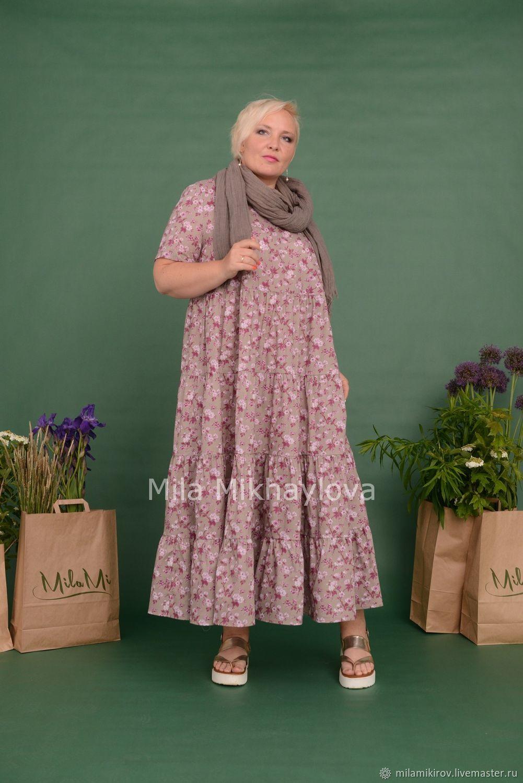 Dress short sleeve tiered Batiste flowers. Art. 3548, Dresses, Kirov,  Фото №1