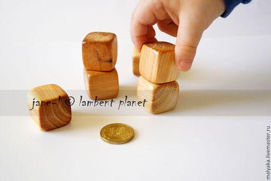 Можжевеловые кубики без лака и краски. Детский конструктор. Размер кубиков 20мм