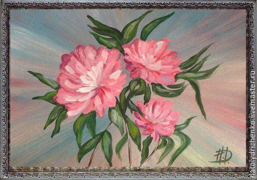 """Картины цветов ручной работы. Ярмарка Мастеров - ручная работа. Купить Картина """"Пионы"""". Handmade. Картина, картина в подарок, художник"""
