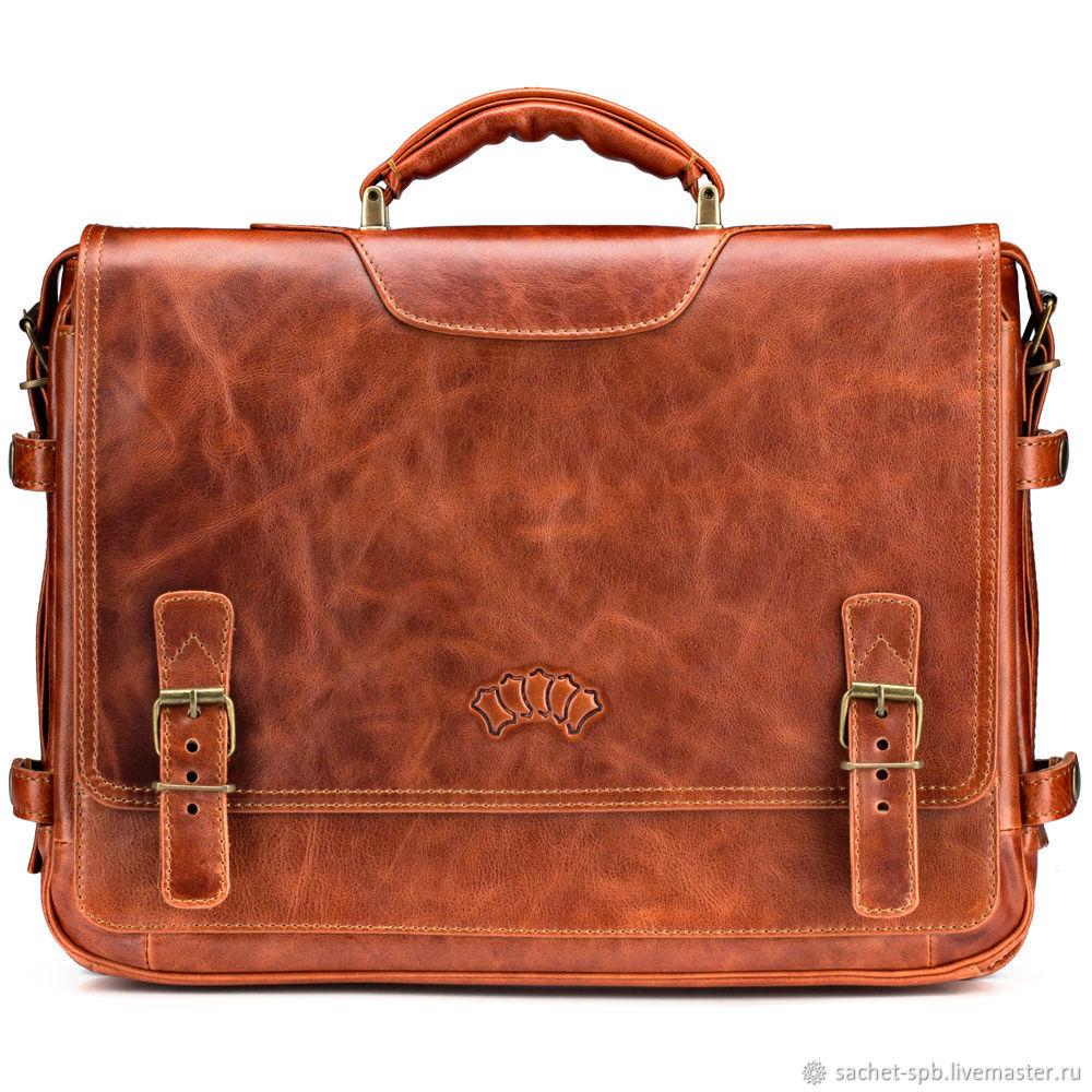 Leather briefcase 'Aramis' (red antique), Brief case, St. Petersburg,  Фото №1