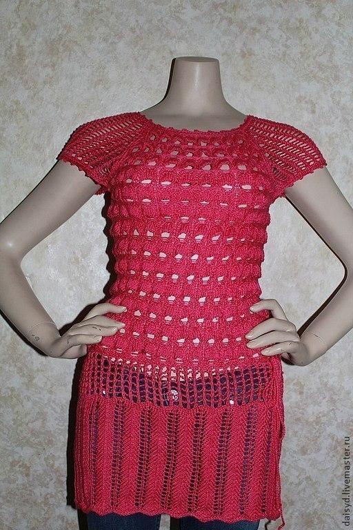 Кофты и свитера ручной работы. Ярмарка Мастеров - ручная работа. Купить Летняя туника женская,ярко-розовая, ручная работа. Handmade.