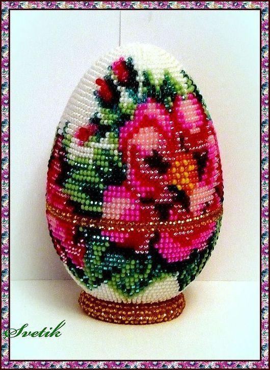 Яйца ручной работы. Ярмарка Мастеров - ручная работа. Купить яйцо-шкатулка из бисера. Handmade. Сувениры и подарки, яйцо пасхальное