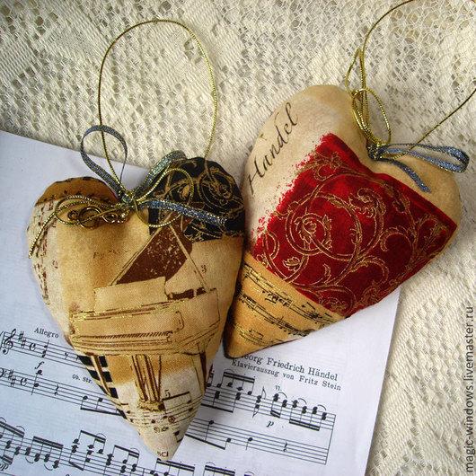Подвески ручной работы. Ярмарка Мастеров - ручная работа. Купить Сердечки текстильные - I love music -. Handmade. Подвеска, ноты