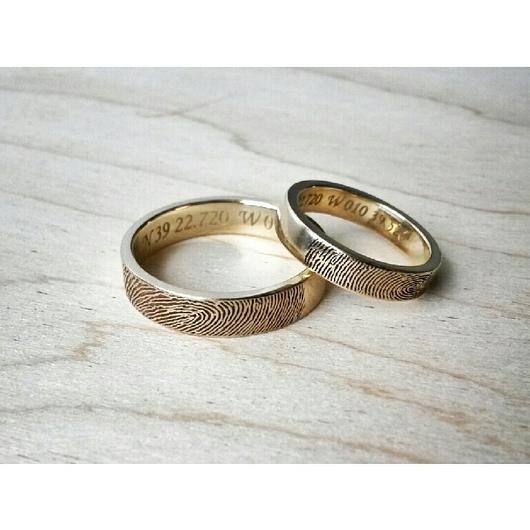 Кольца ручной работы. Ярмарка Мастеров - ручная работа. Купить Золотые кольца с отпечатками пальцев. Handmade. Золото 585 пробы