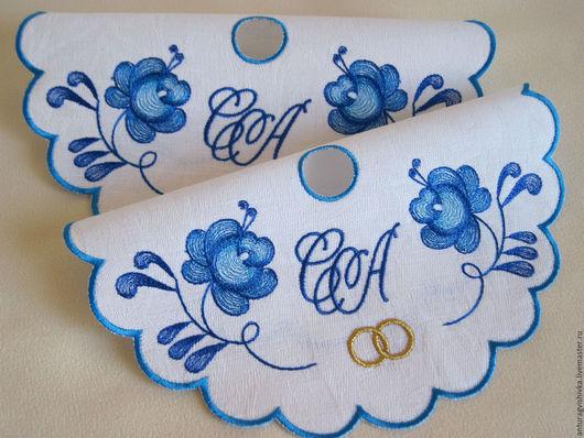 Салфетки для венчания, Салфетки с вышивкой,  Свадебный рушник, Рушник на свадьбу,  Рушник для венчания, Венчальный рушник,  Венчальный набор, Гжель
