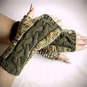 Аксессуары handmade. Livemaster - original item Knitted fingerless gloves colors of autumn leaves from 100% Merino. Handmade.