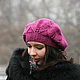 Шапка женская, шапки женские, шапки зимние, шапки вязаные, шапки вязанные, шапка берет, берет шапка, берет валяный, фуксия, брусника, малина.