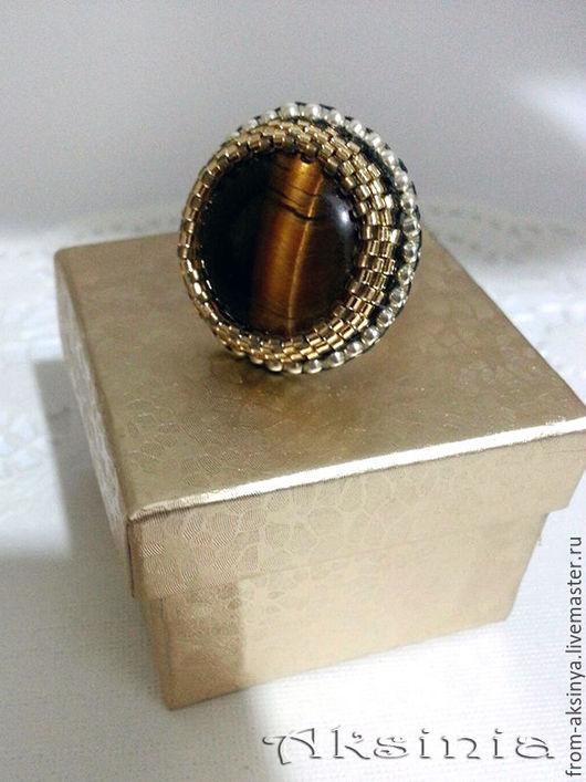 Кольца ручной работы. Ярмарка Мастеров - ручная работа. Купить кольцо тигровый глаз. Handmade. Коричневый, бисер японский