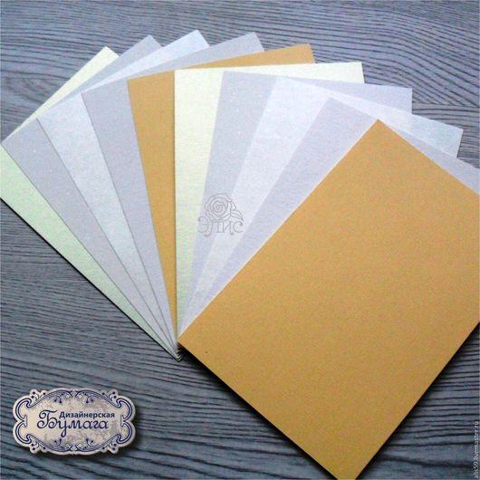 Набор дизайнерского картона 10х15 см, 5 видов по 2 листа. Цвет в реальности и на мониторе могут отличаться.
