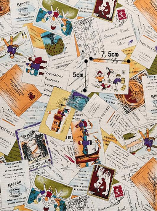 Шитье ручной работы. Ярмарка Мастеров - ручная работа. Купить Ткань старинные открытки. Handmade. Ткань для творчества, Скрапбукинг