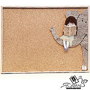 "Картины и панно handmade. Livemaster - original item Board for records ""The girl and the elephant"". Handmade."