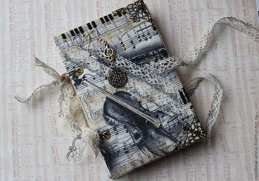 """Блокноты ручной работы. Ярмарка Мастеров - ручная работа. Купить Блокнот """"Струны"""". Handmade. Белый, ноты, подарок на новый год"""