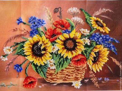 """Картины цветов ручной работы. Ярмарка Мастеров - ручная работа Картина """"Букет полевых цветов"""" (вышивка бисером). Handmade."""