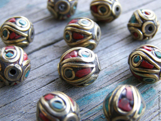 Для украшений ручной работы. Ярмарка Мастеров - ручная работа. Купить Бусины тибетские с бирюзой и кораллом БН40. Handmade.