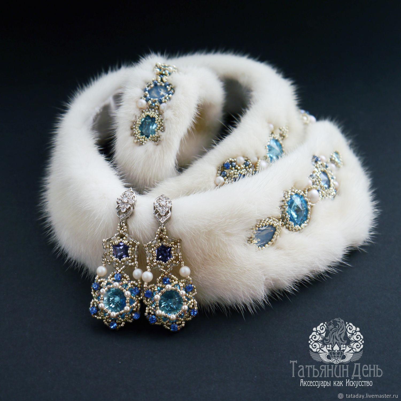 Fur collar, bracelet and earrings 'Morozko' with mink fur, Jewelry Sets, St. Petersburg,  Фото №1