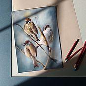 handmade. Livemaster - original item Pastel painting Sparrows (grey blue beige birds). Handmade.