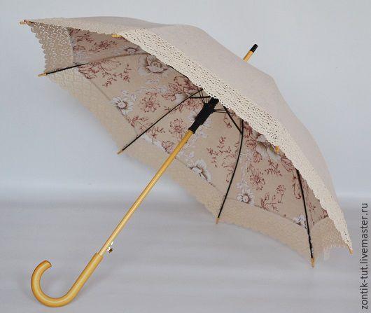 """Зонты ручной работы. Ярмарка Мастеров - ручная работа. Купить Зонт от солнца """"Интрига"""". Handmade. Бежевый, защита от солнца, женский"""