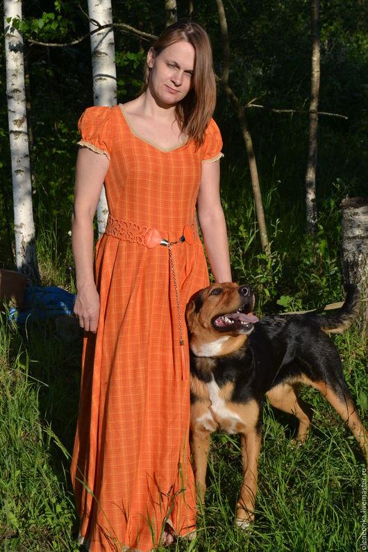 """Платья ручной работы. Ярмарка Мастеров - ручная работа. Купить Платье """"Одуванчик"""". Handmade. Оранжевый, льняная одежда"""