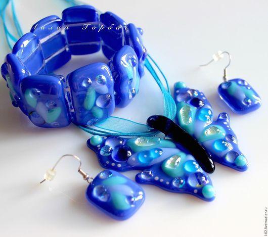 Комплекты украшений ручной работы. Ярмарка Мастеров - ручная работа. Купить комплект из стекла, фьюзинг  Небесная  бабочка. Handmade. Голубой