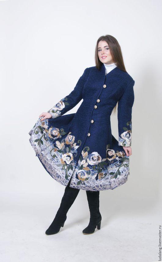 Верхняя одежда ручной работы. Ярмарка Мастеров - ручная работа. Купить Пальто синее Осенние облака.  Скидка 17%. Handmade.