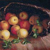 """Картины и панно ручной работы. Ярмарка Мастеров - ручная работа Вышитая картина """"Корзина яблок"""". Handmade."""