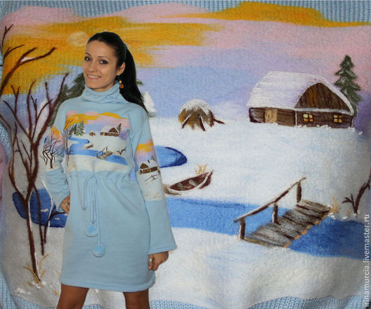 """Платья ручной работы. Ярмарка Мастеров - ручная работа. Купить Платье """"Зимушка зима"""". Handmade. Голубой, ручная вышивка, полушерсть"""