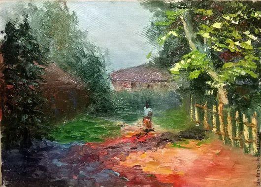 Пейзаж ручной работы. Ярмарка Мастеров - ручная работа. Купить Лето в деревне. Handmade. Разноцветный, картина маслом, краски масляные