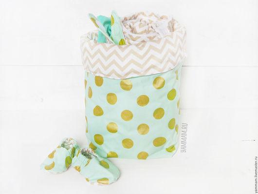 Для новорожденных, ручной работы. Ярмарка Мастеров - ручная работа. Купить Подарочный набор для новорожденного: корзинка, пинетки, бандана, боди. Handmade.