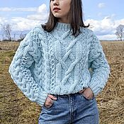 Одежда handmade. Livemaster - original item Jerseys: Women`s sweater with braids in a delicate blue color oversize. Handmade.