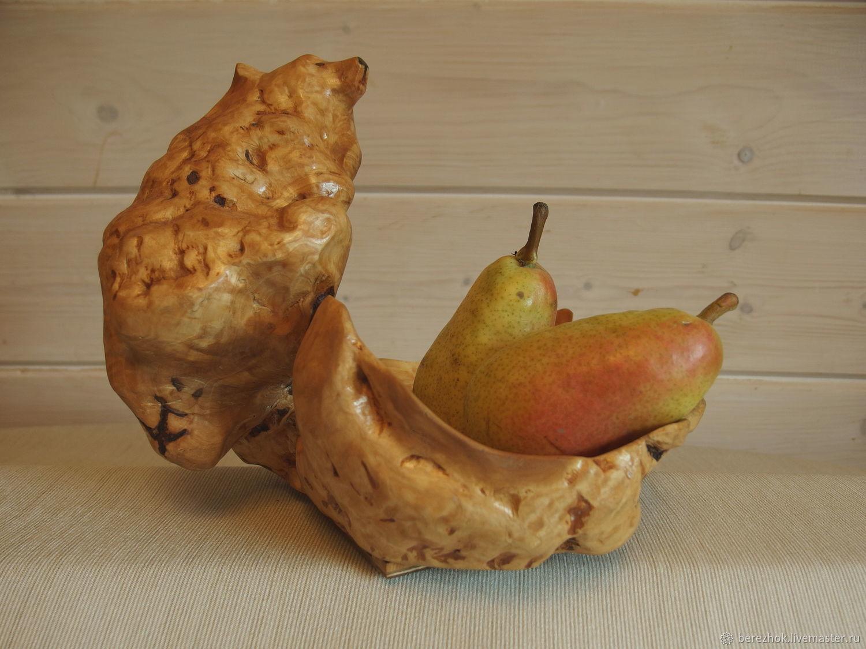 Ваза интерьерная декоративная для фруктов из капа (сувели) Мишка