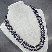 Работы для детей, handmade. Livemaster - original item Natural Black Pearl Long Beads. Handmade.