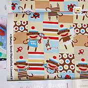 Материалы для творчества ручной работы. Ярмарка Мастеров - ручная работа Ткань мини отрез 20315  Детские обезьянки (22х27см). Handmade.