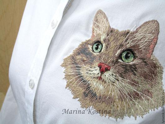 """Блузки ручной работы. Ярмарка Мастеров - ручная работа. Купить Ручная вышивка гладью """"Кот"""" на рубашке. Handmade. Звериная расцветка"""